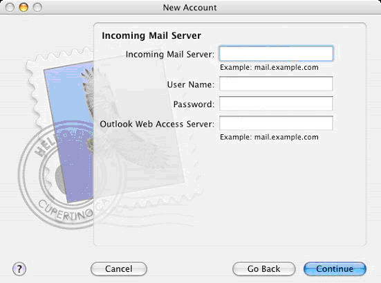 Step 2 - Configure Apple Mail for Hosted Microsoft Exchange, Set your incoming mail server.