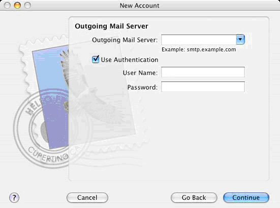 Step 3 - Configure Apple Mail Hosted Exchange Server, Set your Outgoing Mail Server.