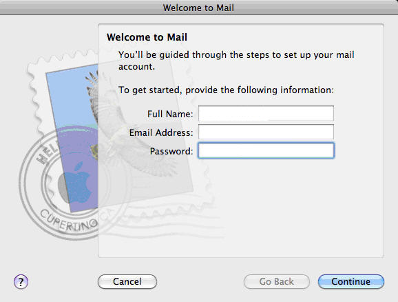 Configure Apple Mail Snow Leopard Fluccs Hosted Exchange, Step 1, Open Apple Mail and create a new email account.