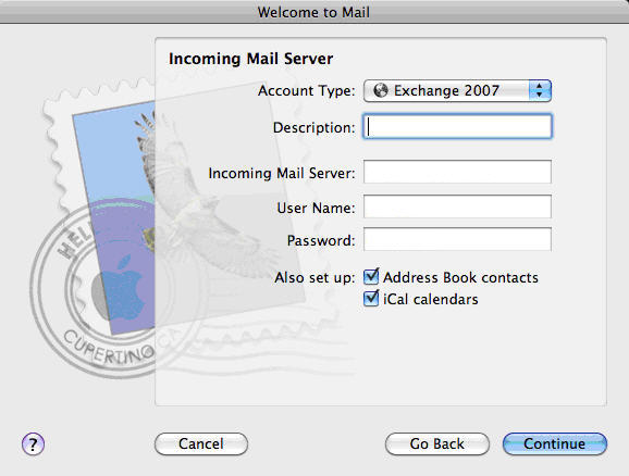 Setup Apple Mail Mac OSX Snow Leopard, Set your incoming mail server. Make sure the account type is set to Exchange 2007.