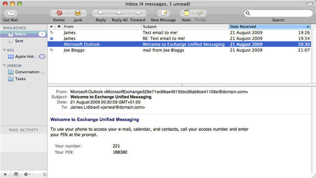Configure Apple Mail Snow Leopard with Fluccs Hosted Exchange, After clicking create in the previous step, you will be presented with your Hosted Exchange mailbox.