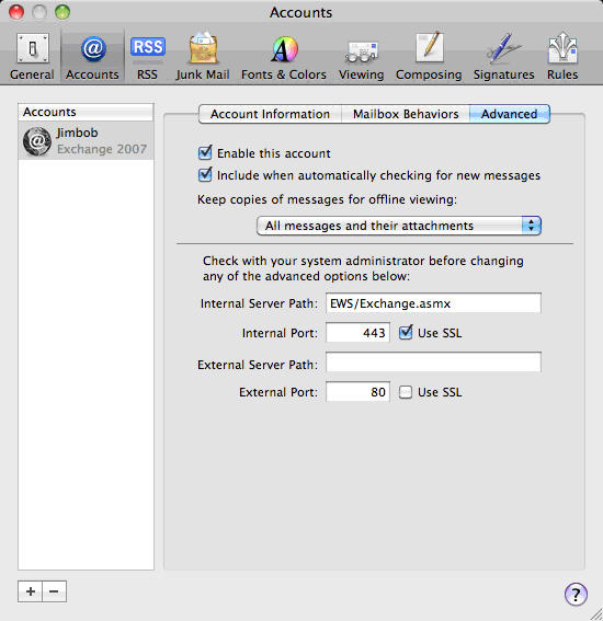 Configure Apple Mail Snow Leopard with Fluccs Hosted Exchange, Click on Advanced and ensure your mailbox is configured as shown here.