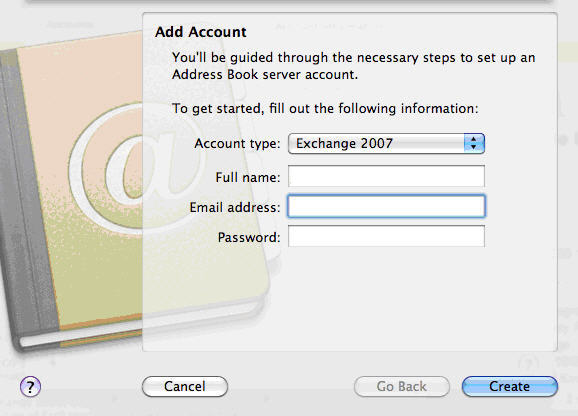 Configure Apple Mail Snow Leopard with Fluccs Hosted Exchange Server 2007, Using Address Book, Using iCal, Simply create an account as you would normally, using your username, password and account type set to Exchange 2007.