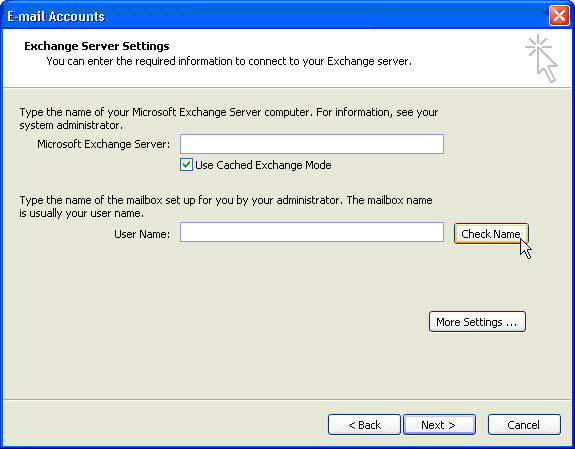 Setup Microsoft Outlook 2003 with Hosted Exchange from Fluccs Hosted Exchange, Step 6: Check the Name and server details by clicking on Check Name.