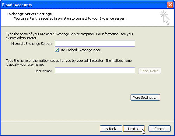 Configure Microsoft Outlook 2003 Fluccs Hosted Exchange, Step 8: Check the Server and User details are correct.