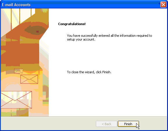 Setup Microsoft Outlook 2003 with Hosted Microsoft Exchange Server, Step 9 Success Message, Click Finish