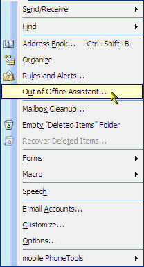 Setup Out Of Office Assistant for Microsoft Outlook 2003 on Fluccs Hosted Exchange.