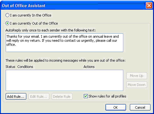 Setup Out Of Office Assistant with Fluccs Hosted Exchange, Step 2: Define your auto response email message and enable Out Of Office.