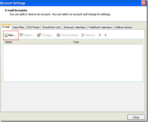 Setup Microsoft Outlook 2007 with Fluccs Hosted Exchange, Step 1: Start Microsoft Outlook and select the Tools menu, then Account Settings.