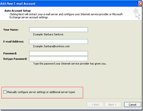 Configure Microsoft Outlook 2007 with Fluccs Hosted Exchange, Step 2: Manually Configure Server Settings.