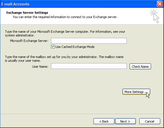 Setup Microsoft Outlook 2007 with Fluccs Hosted Exchange Server, Step 3: Enter the Server details and your username, then click on More Settings to configure how you will connect to the mail server.
